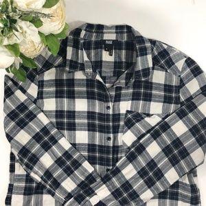 PAIGE Blue White Plaid Flannel Button Down Shirt